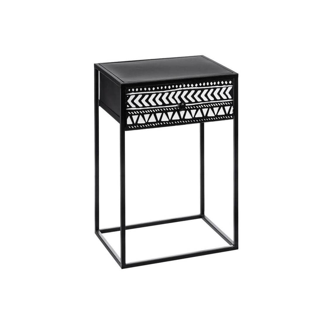 Table d 39 appoint 1 tiroir m tal noir blanc africa petits meubles - Table d appoint malm ...