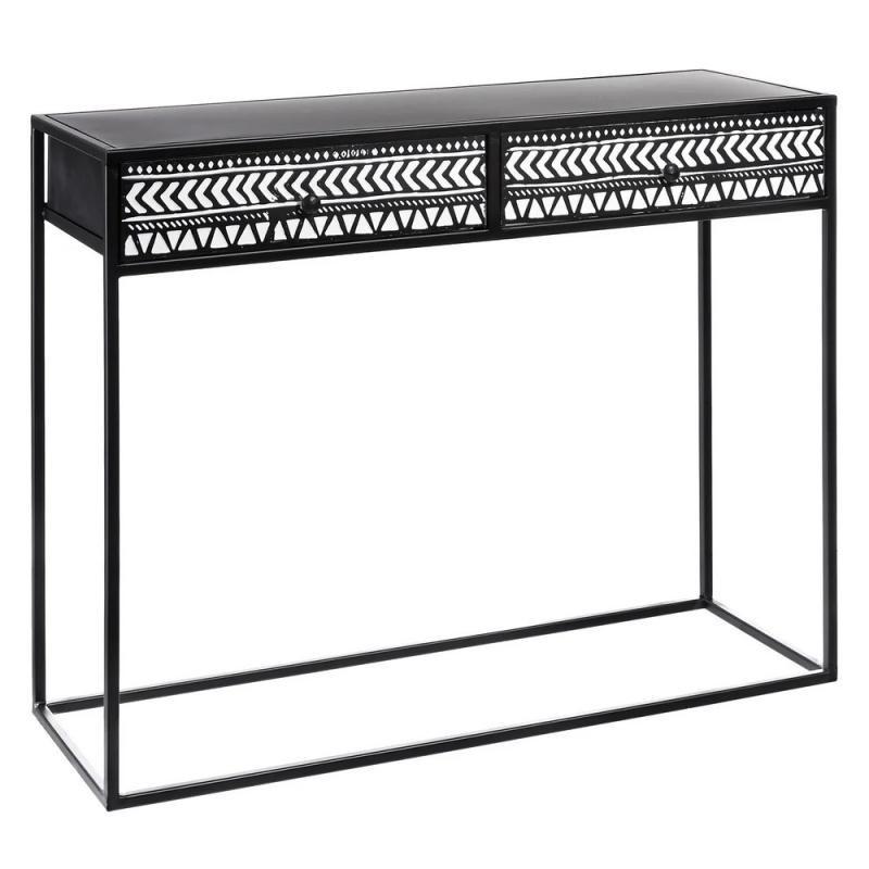 Console 2 tiroirs Métal Noir/Blanc ethnique - Univers Petits Meubles : Tousmesmeubles