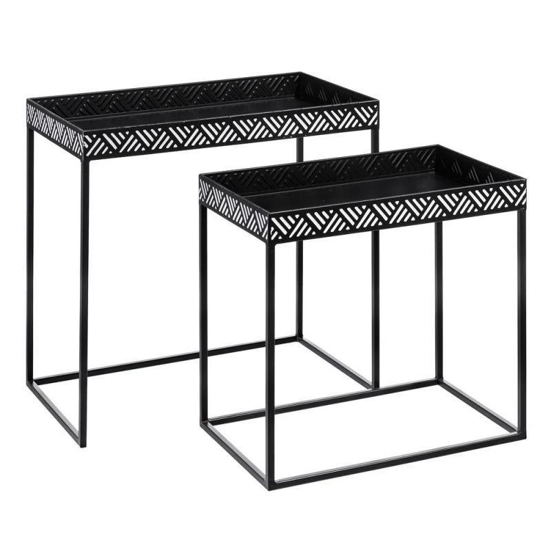 Duo de Tables gigognes Métal Noir/Blanc ethnique - Univers Petits Meubles : Tousmesmeubles