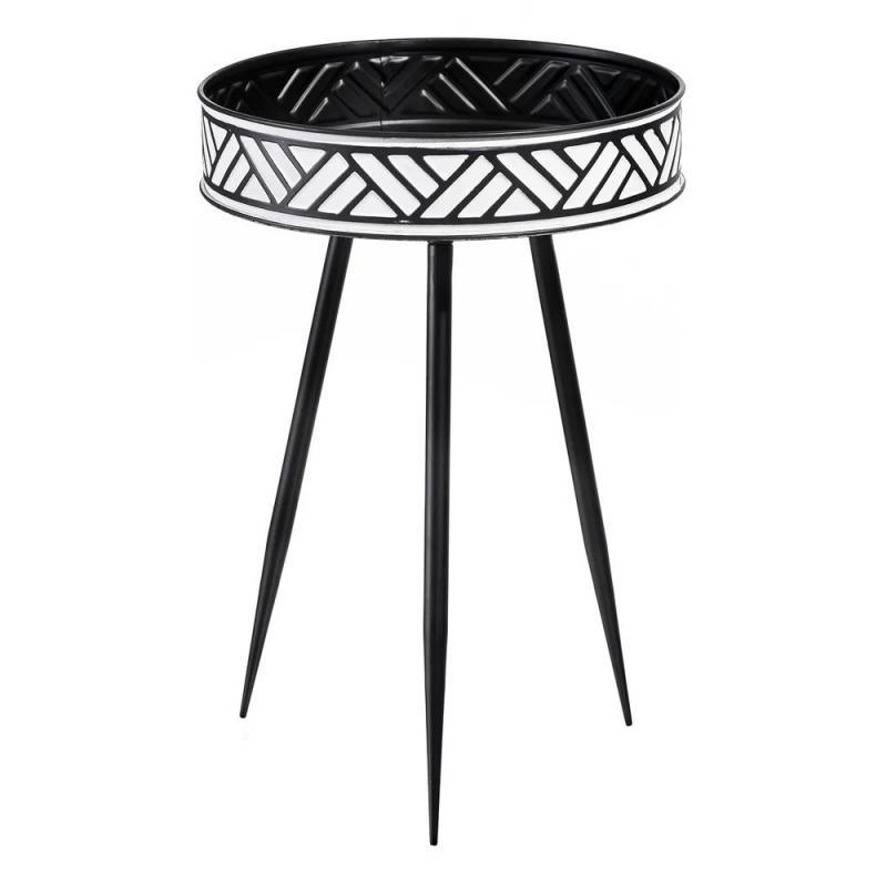 Table d'appoint Métal Noir/Blanc n°1 ethnique - Univers Petits Meubles : Tousmesmeubles