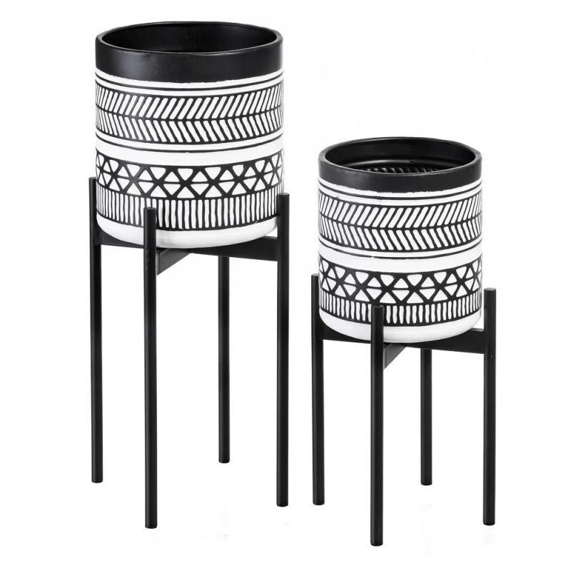 Duo de Cache-pots Métal Noir/Blanc ethnique - Univers Décoration : Tousmesmeubles