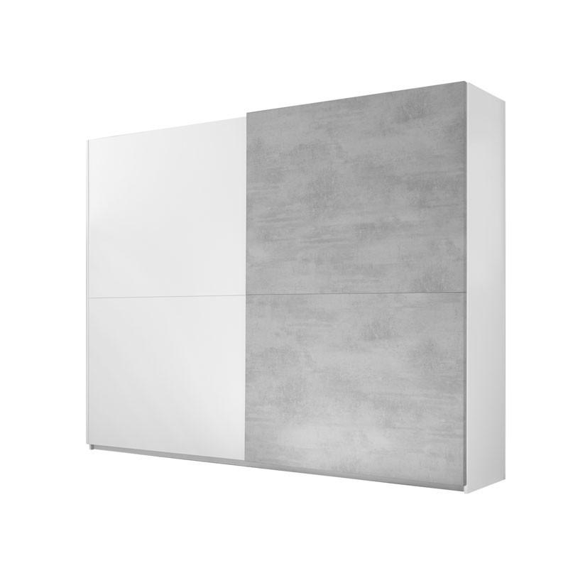Armoire 2 portes coulissantes Blanc/Ciment - ANIECE n°1