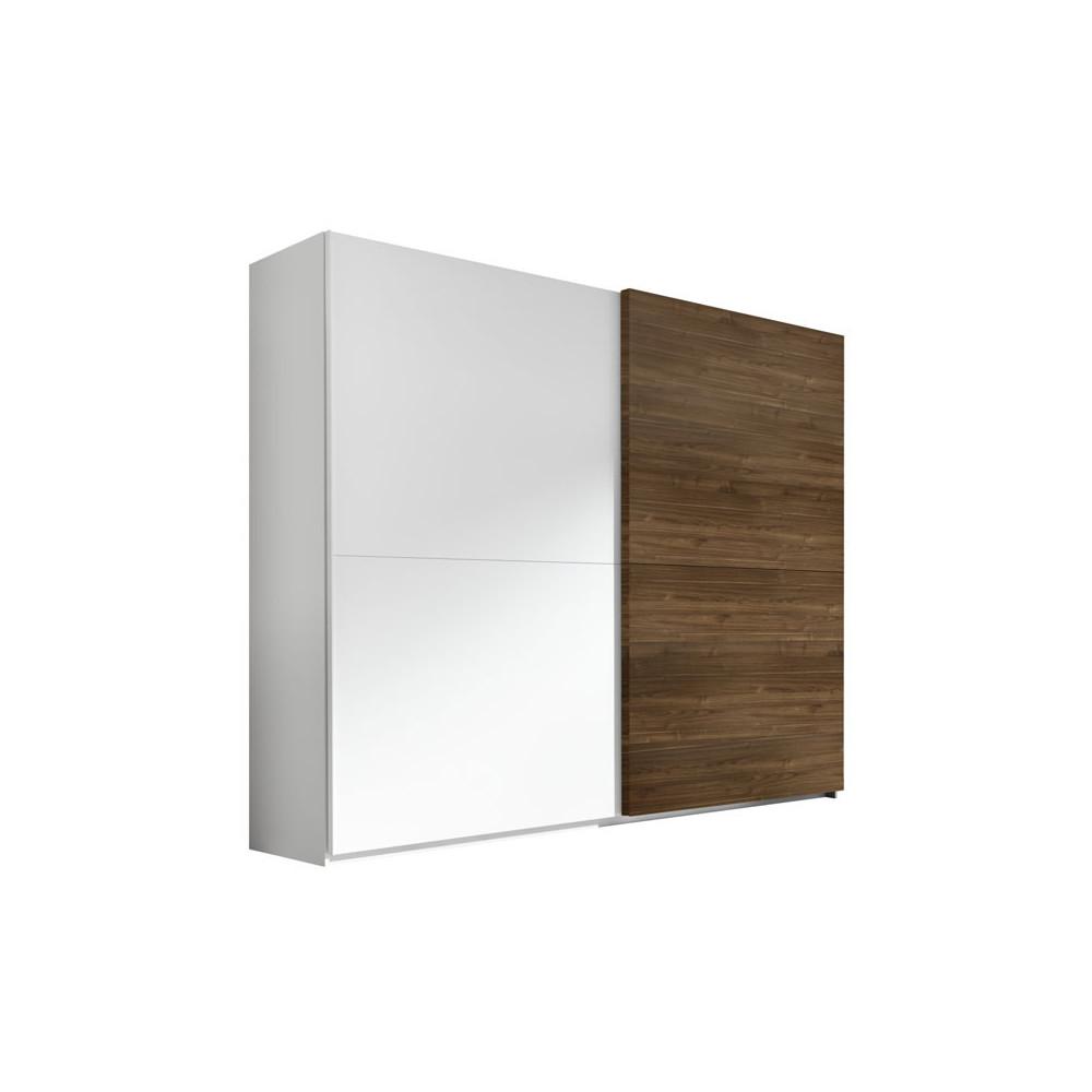Armoire 2 portes coulissantes Blanc/Noisette foncé - ANIECE n°1