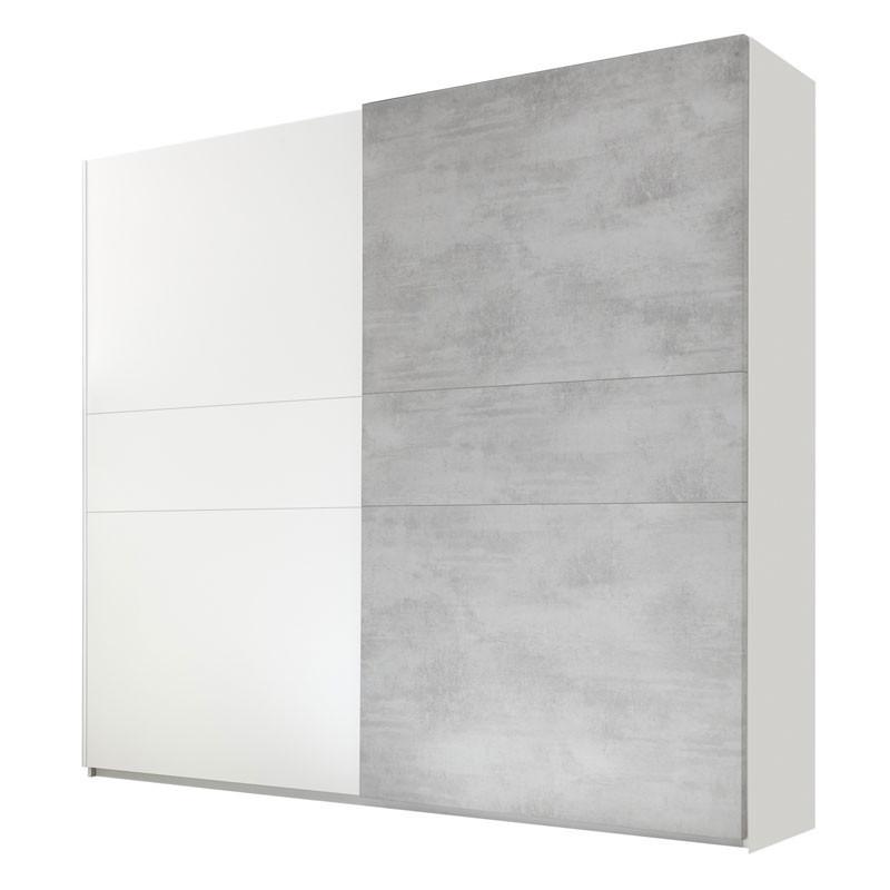 Armoire 2 portes coulissantes Blanc/Ciment - ANIECE n°2