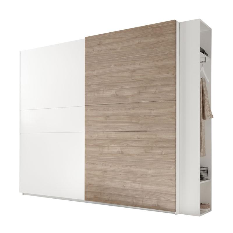 Armoire 2 portes coulissantes Blanc/Noisette clair - ANIECE n°1