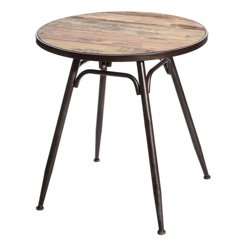 Table de repas ronde Métal/Bois industrielle BRUTUS - Univers Salle à Manger : Tousmesmeubles