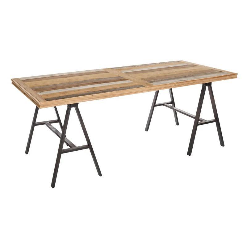 Table de repas pieds tréteaux Métal/Bois BRUTUS - Univers Salle à Manger : Tousmesmeubles