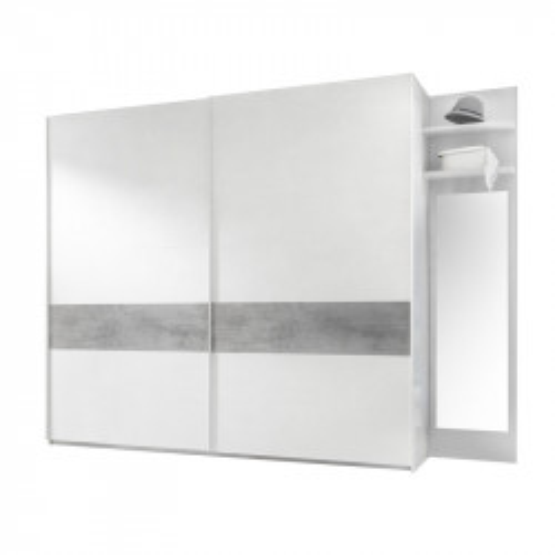 Armoire 2 portes coulissantes Blanc/Ciment - ANIECE n°3