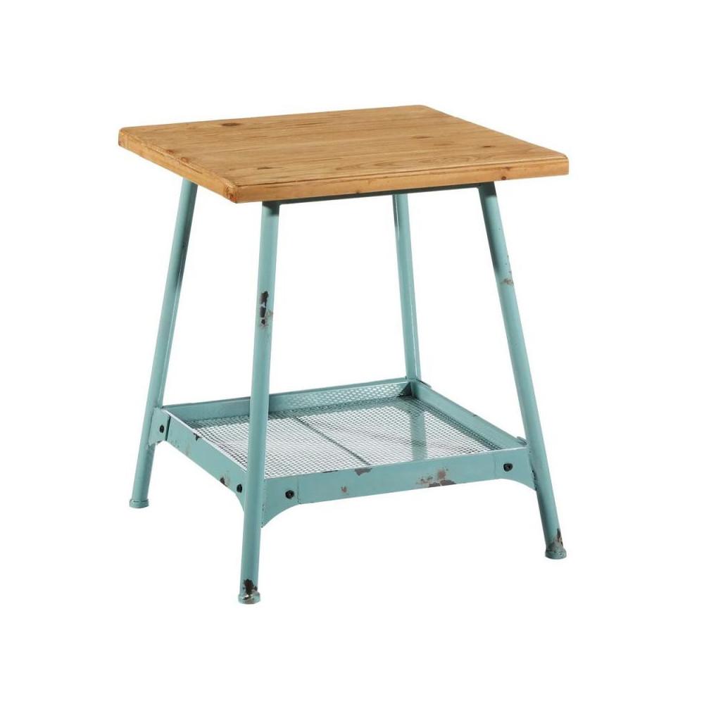 Table d'appoint Bois/Métal Bleu industriel BRUTUS - Univers Petits Meubles et Salon : Tousmesmeubles