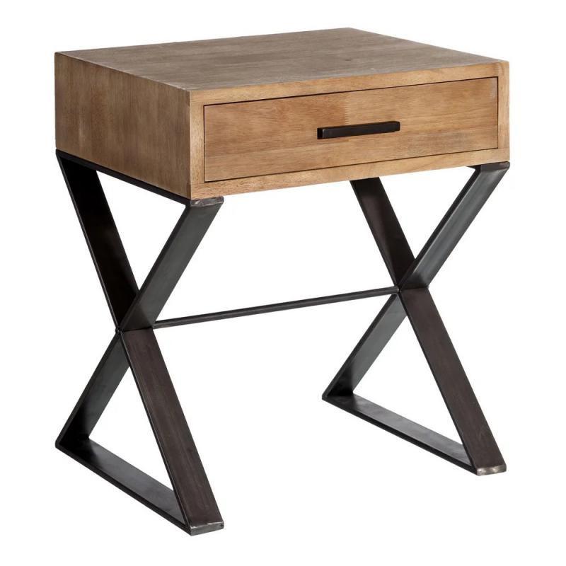 Table d'appoint 1 tiroir Métal/Bois industriel BRUTUS - Univers Salon et Petits Meubles : Tousmesmeubles