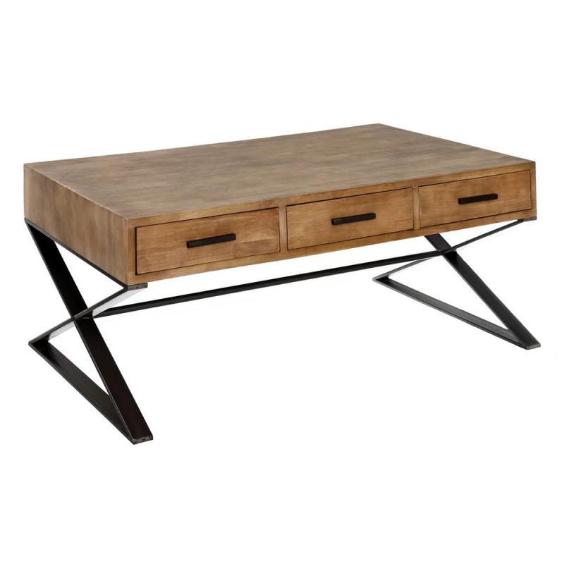 Table basse 6 tiroirs Métal/Bois industriel BRUTUS - Univers Salon : Tousmesmeubles