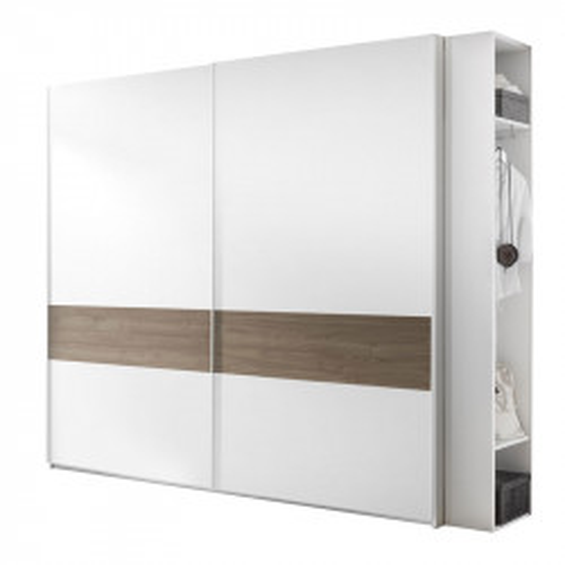 Armoire 2 portes coulissantes Blanc/Noisette foncé - ANIECE n°4