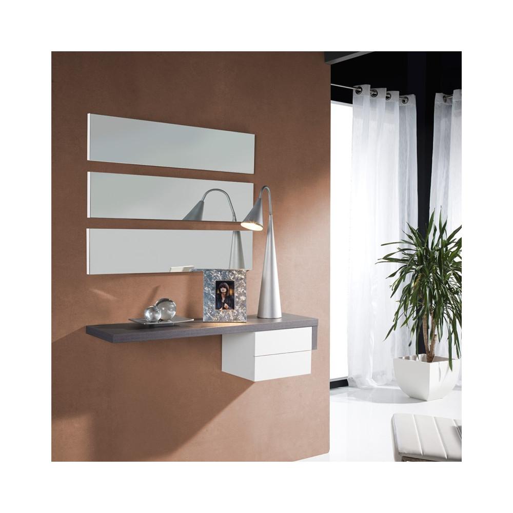 Meuble d'entrée Cendre/Blanc + miroir - POSTI