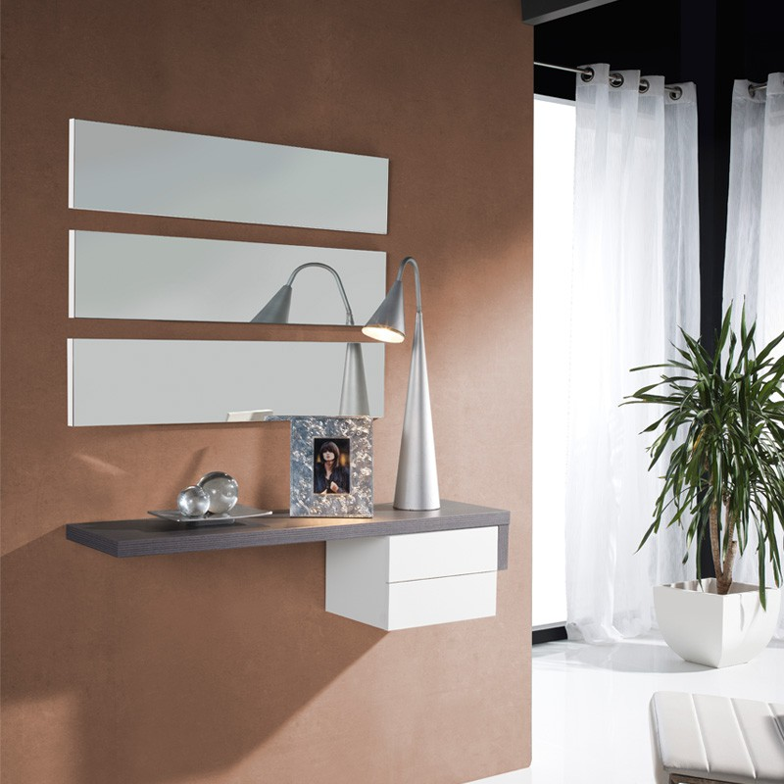 meuble d 39 entr e cendre miroir posti univers petits meubles. Black Bedroom Furniture Sets. Home Design Ideas