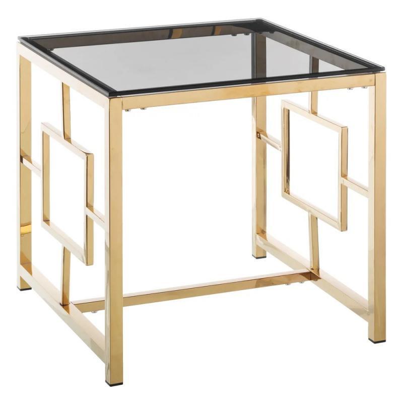 Table d'appoint Métal/Verre Or/Gris - Univers Petits Meubles et Salon : Tousmesmeubles