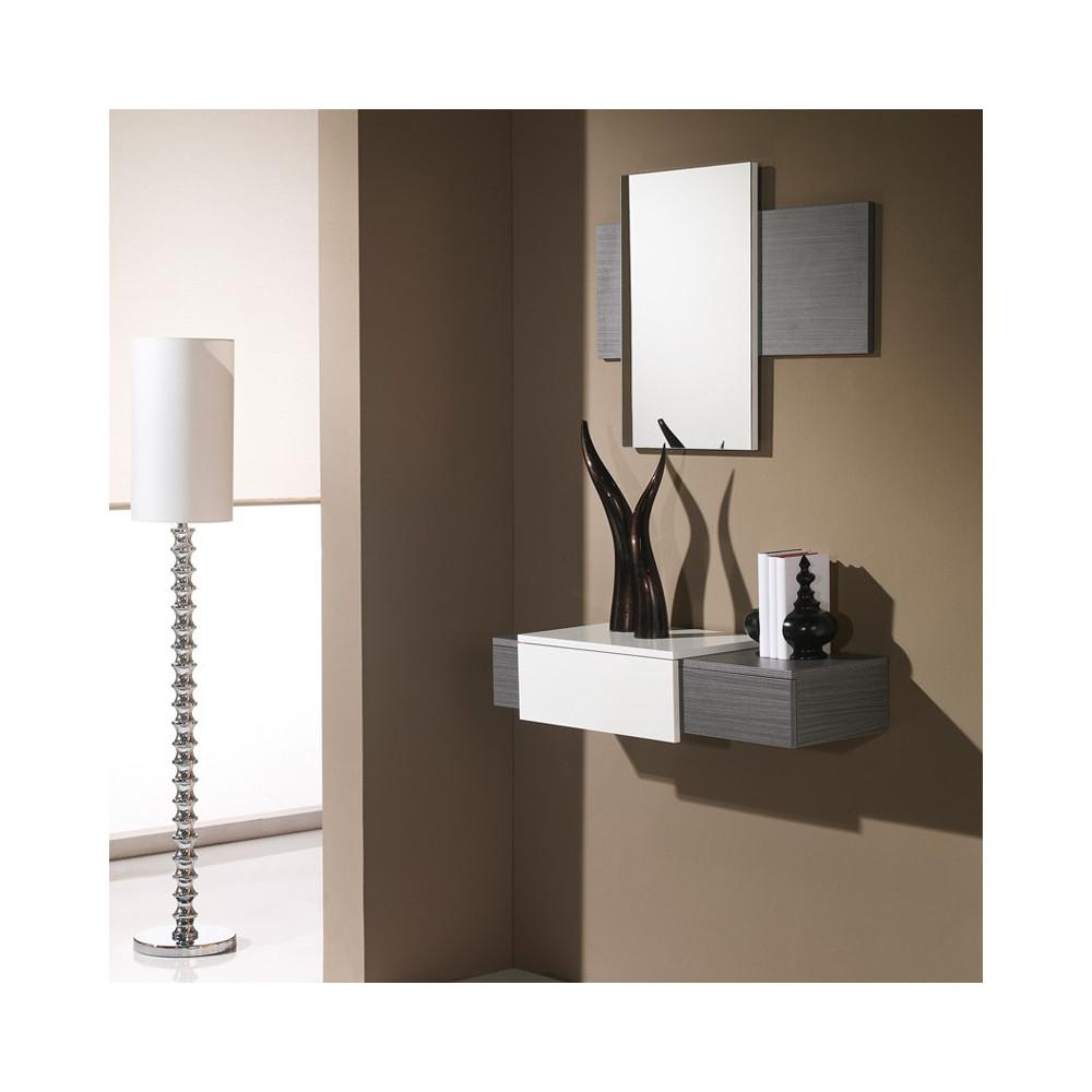 Meuble d'entrée Cendre + miroir - IMBRO