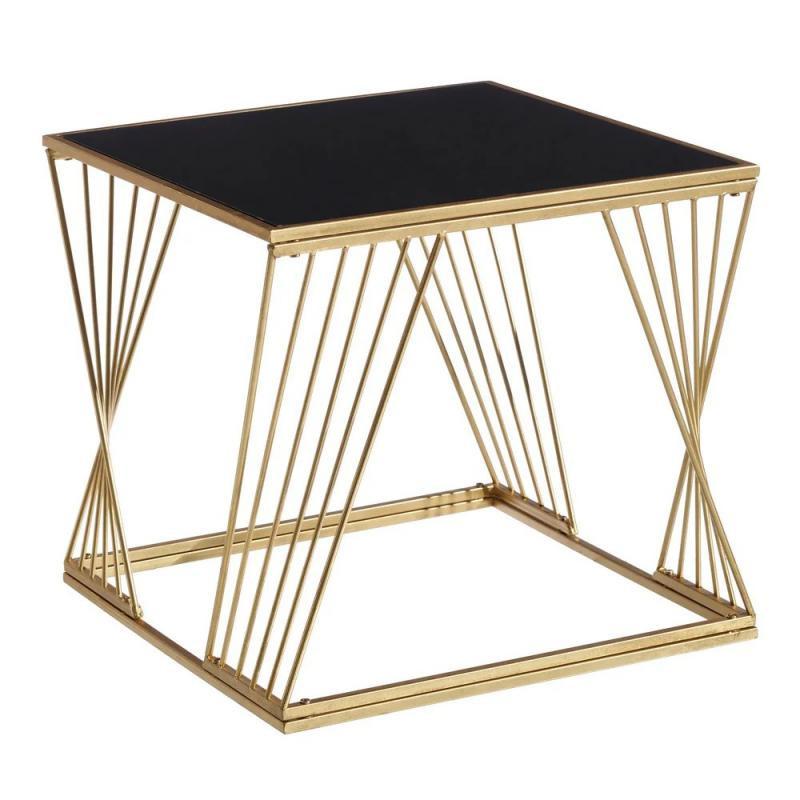 Table d'appoint Métal Or/Verre Noir - Univers Salon et Petits Meubles : Tousmesmeubles