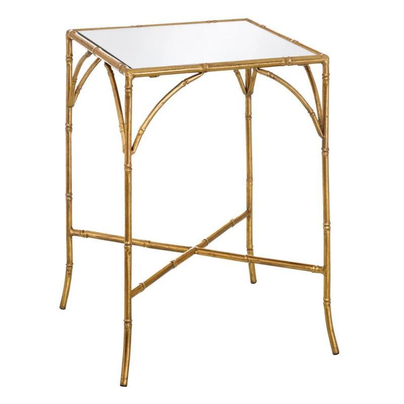 Table d'appoint carrée Verre Miroir/Métal Or - Univers Salon et Petits Meubles : Tousmesmeubles