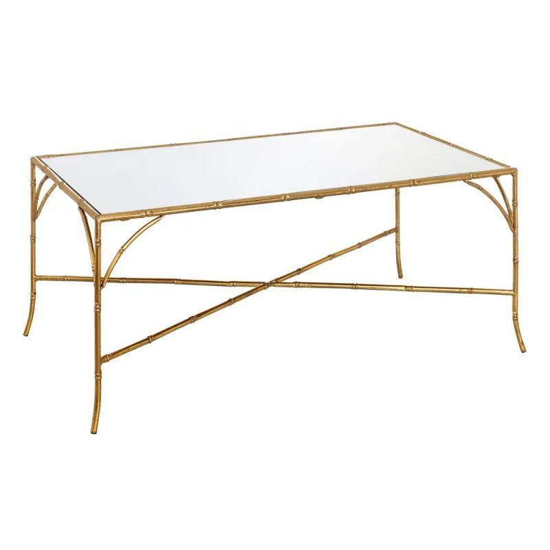 Table basse plateau Verre Miroir Métal Or - Univers Salon : Tousmesmeubles