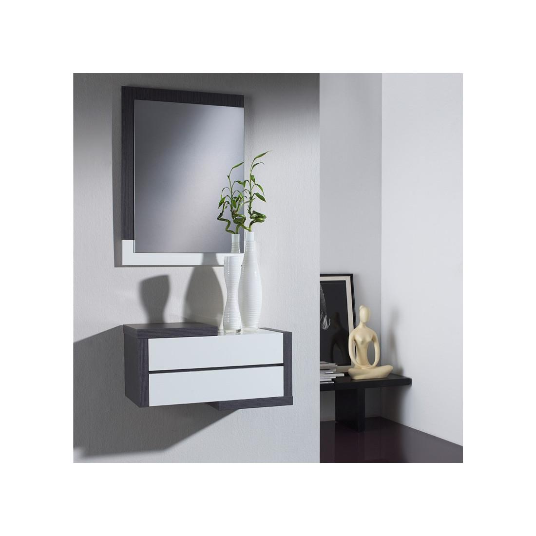 Meuble d 39 entr e cendre miroir recto univers petits meubles - Meuble d entree miroir ...