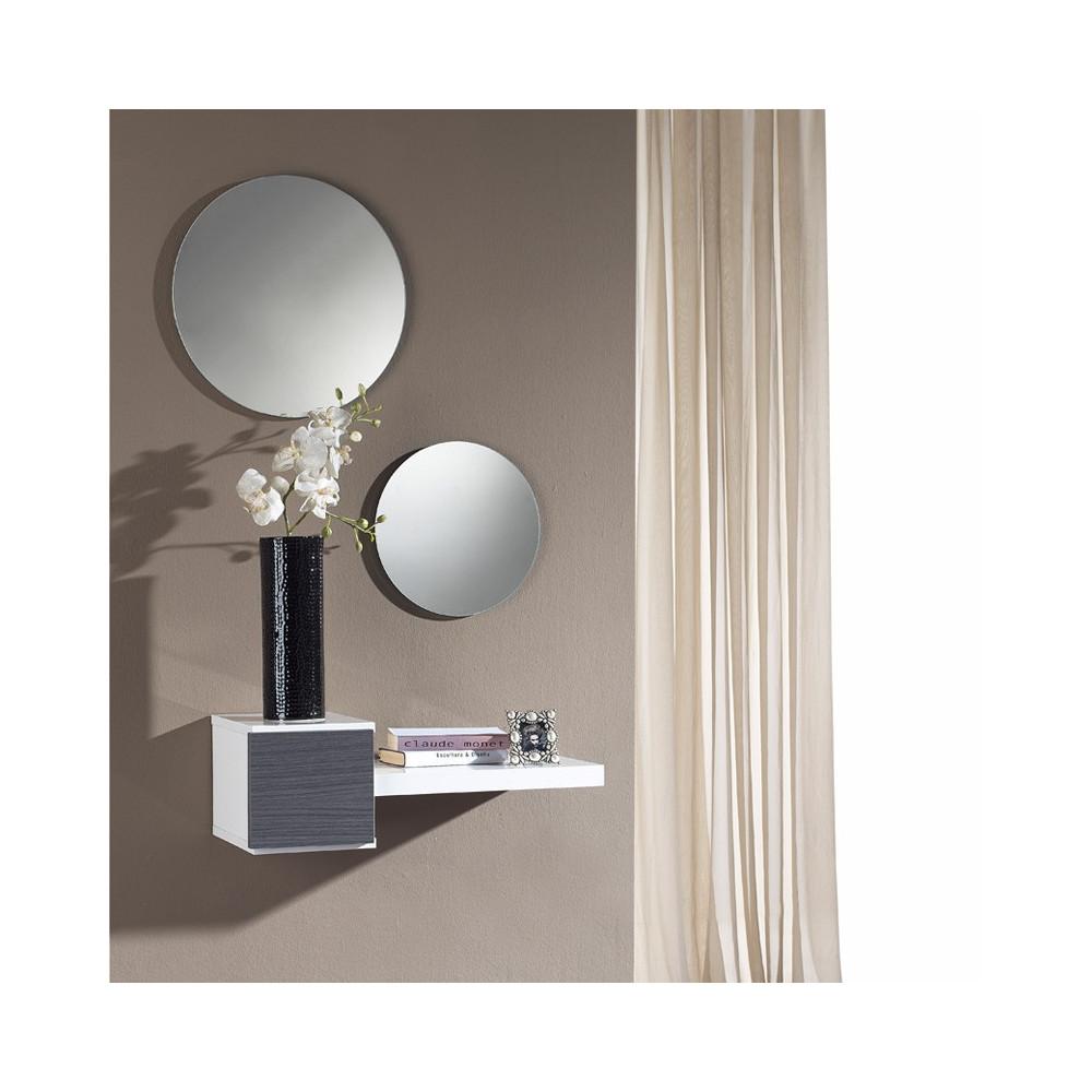 Meuble d'entrée Cendre + miroir - TIGA