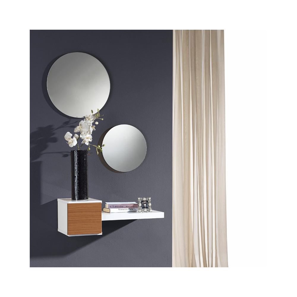Meuble d'entrée Noyer + miroir - TIGA