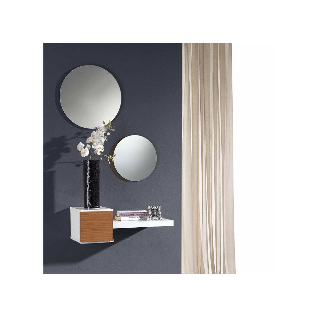 Meuble d 39 entr e noyer miroir tiga univers petits meubles - Miroir d entree ...