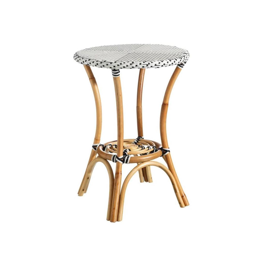 table d 39 appoint rotin blanc noir tanar petits meubles et. Black Bedroom Furniture Sets. Home Design Ideas