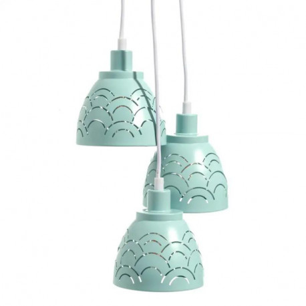 Suspension 3 ampoules Métal vert d'eau  - GONDO