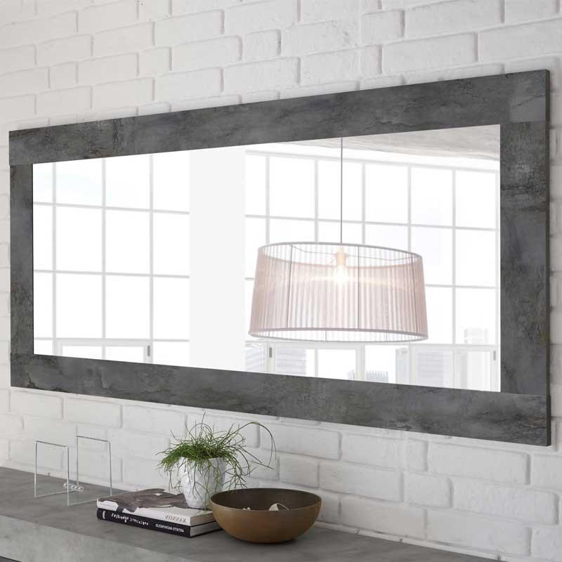 Miroir rectangulaire Béton ciré foncé - LUBIO