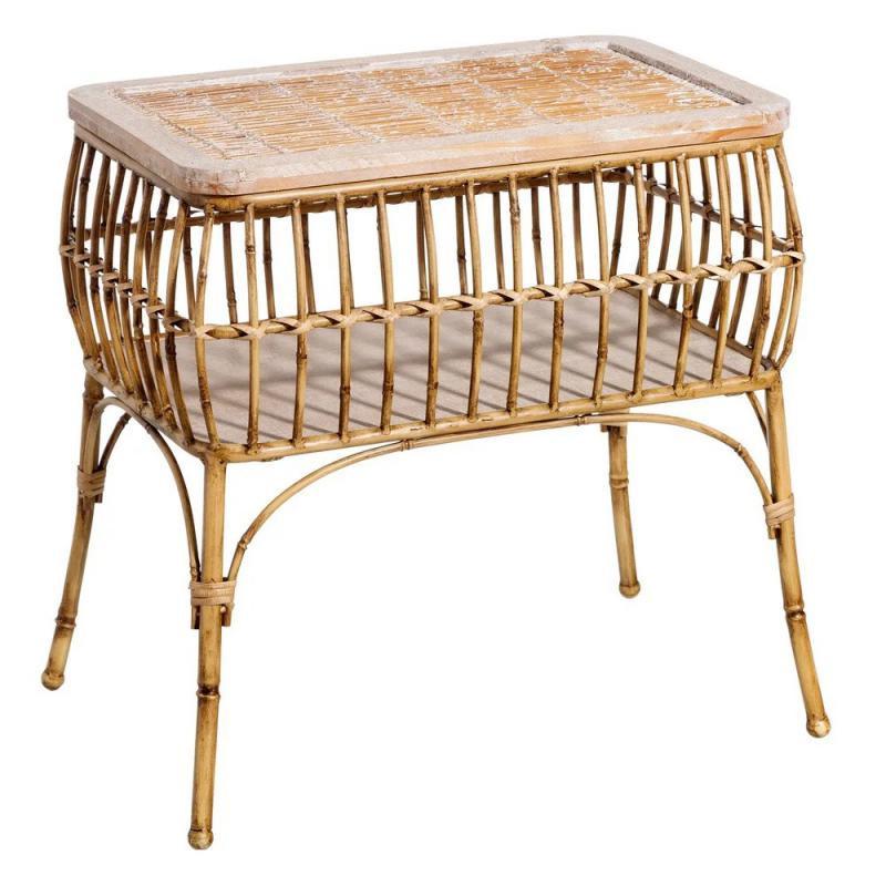 Table d'appoint Métal/Bambou naturel TANAR - Univers Petits Meubles et Salon : Tousmesmeubles