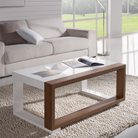 Table basse relevable Blanc/Noyer - UPTU