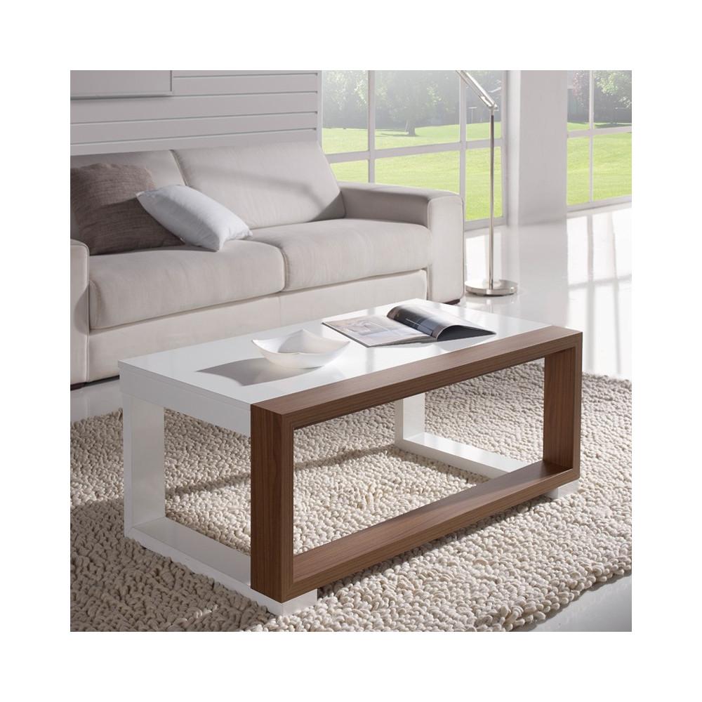 Table basse relevable Blanc/Noyer - UPTU