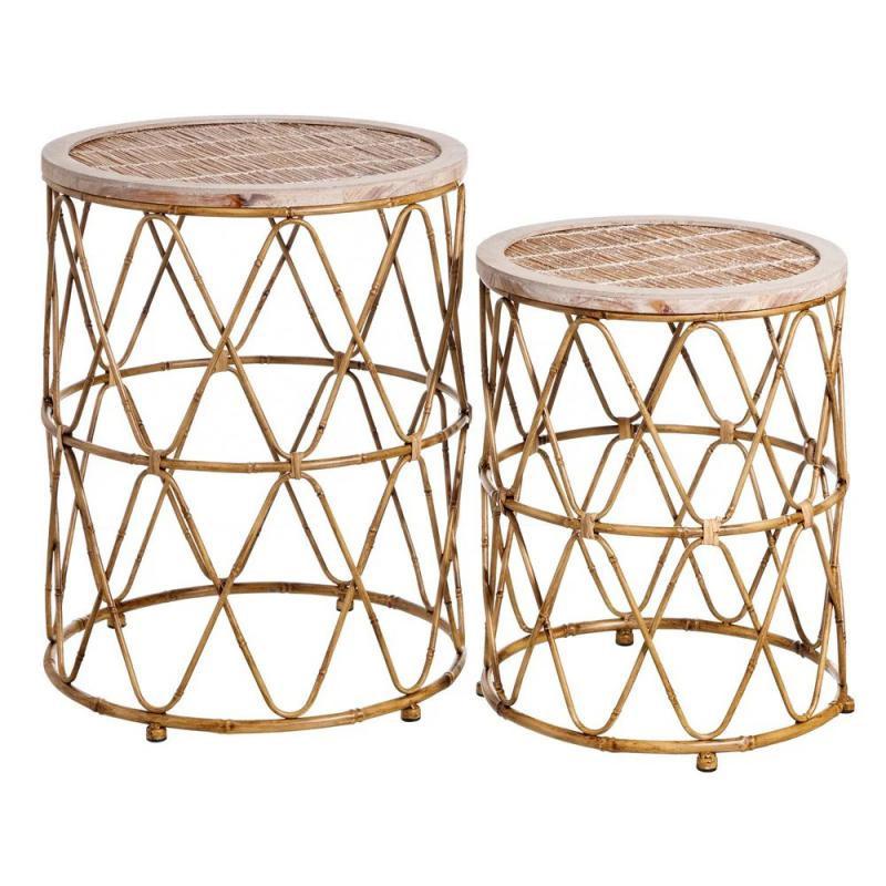 Duo de Tables d'appoint Métal/Bambou naturel TANAR - Univers Petits Meubles et Salon : Tousmesmeubles