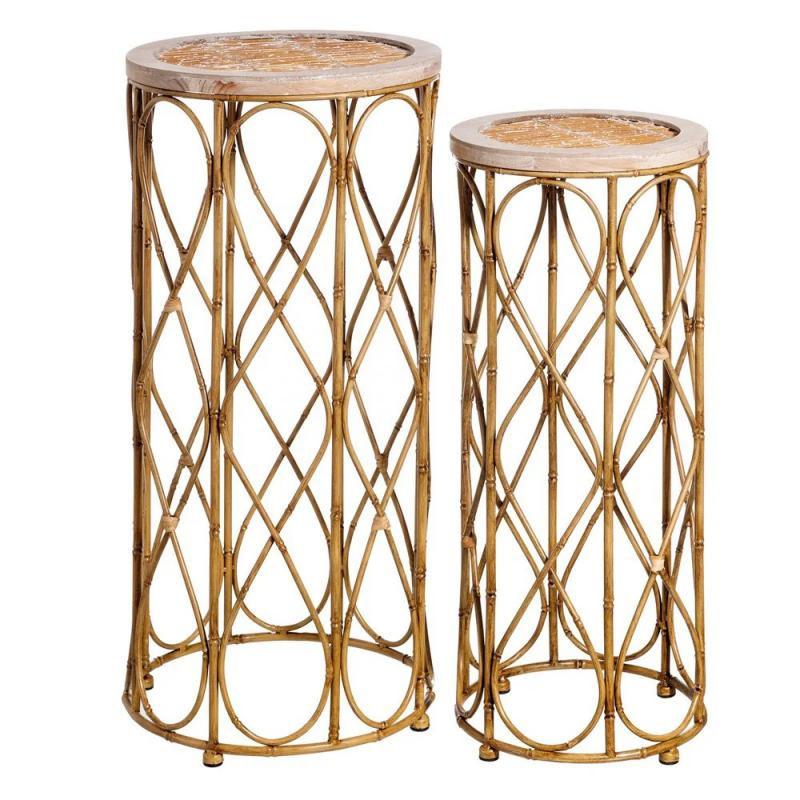 Duo de Sellettes Métal/Bambou naturel TANAR - Univers Petits Meubles : Tousmesmeubles