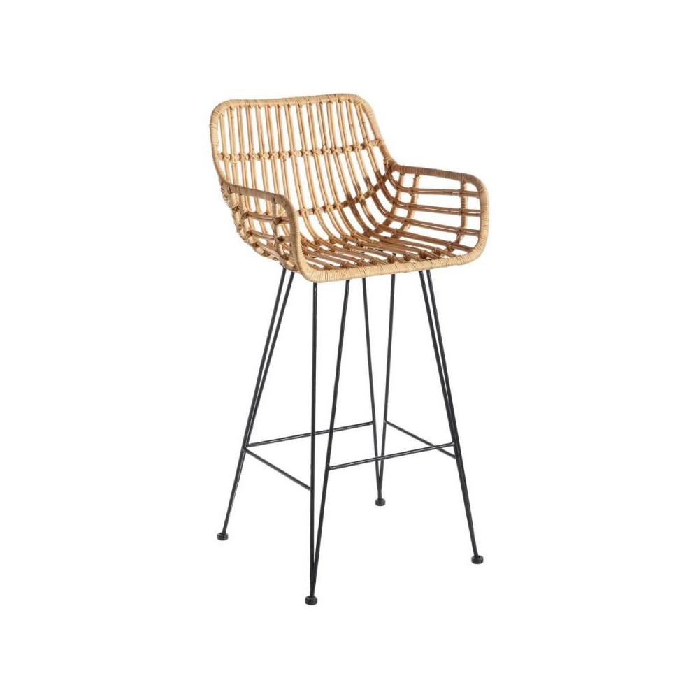 Chaise de bar Métal/Rotin TANAR - Univers Salon et Assises : Tousmesmeubles
