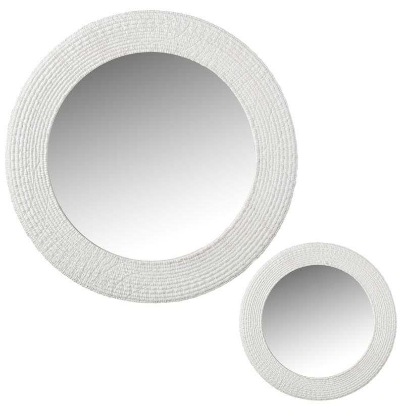 Duo de Miroirs ronds Résine blanc - HENAN