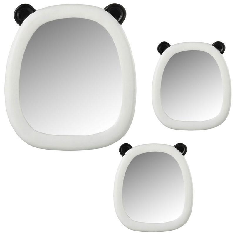 Trio de Miroirs panda Résine Noir/Blanc - SPINDAN