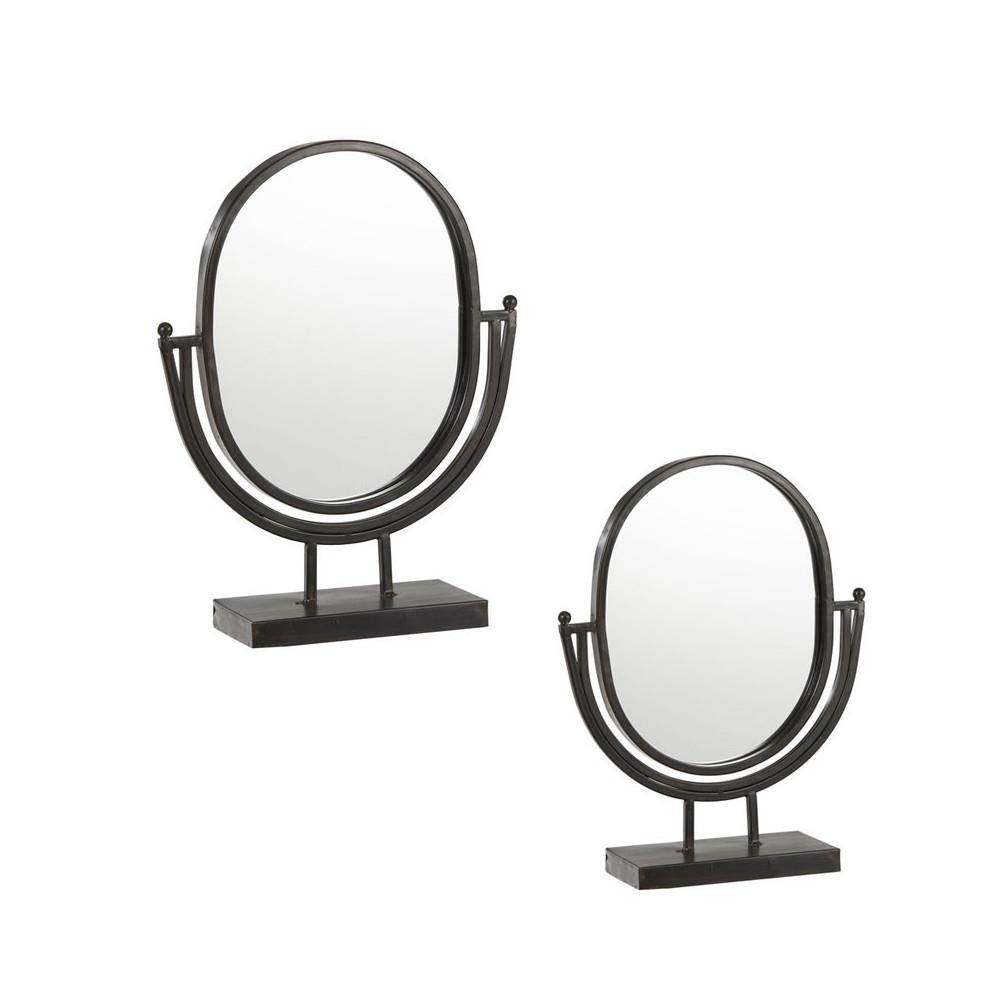 Duo de Miroirs sur pied Métal noir - IRZAI