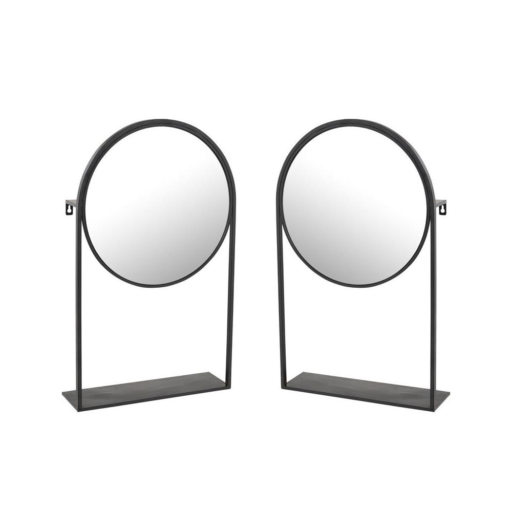 Duo de Miroirs sur pied Métal noir - NAVARRA