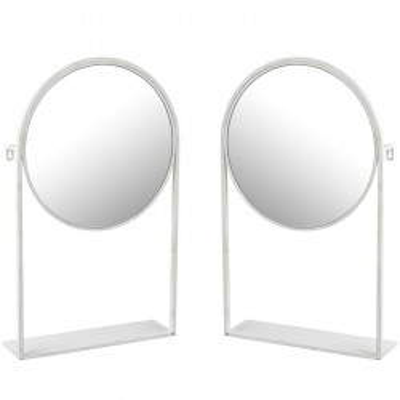 Duo de Miroirs sur pied Métal blanc - NAVARRA