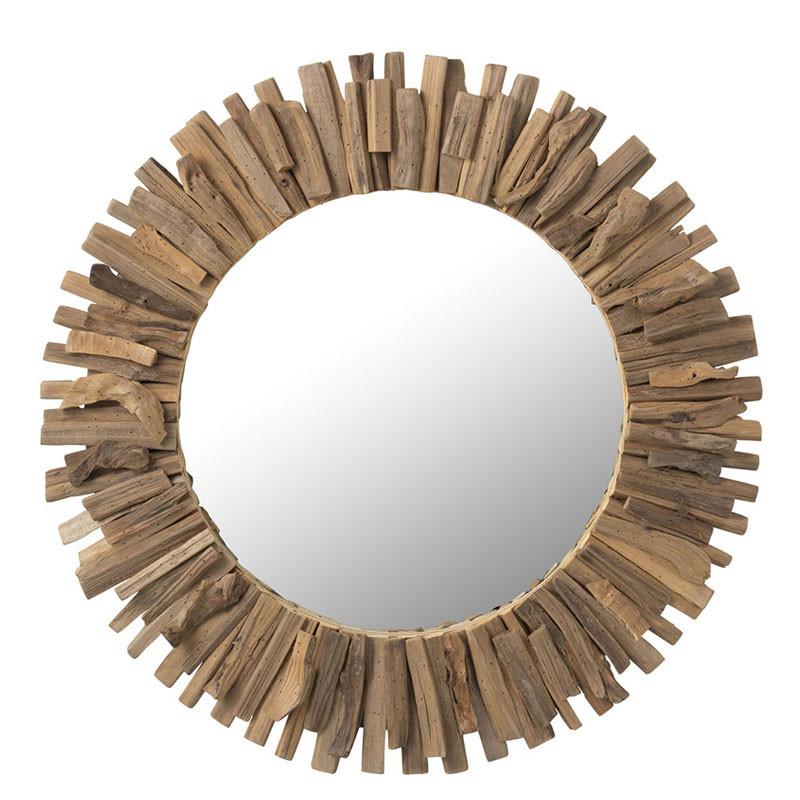 Miroir rond Bois naturel - JARGALAN