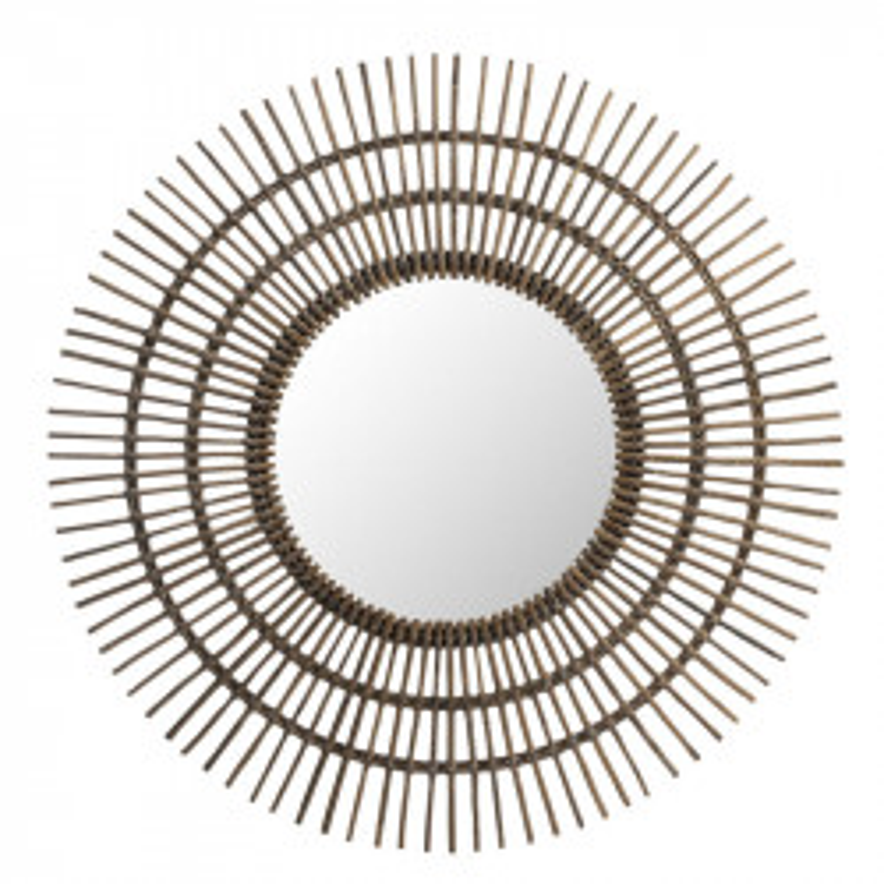 Miroir soleil rond Rotin marron - MEZEN
