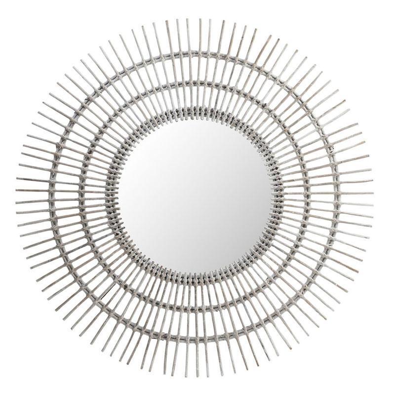 Miroir soleil rond Rotin blanc - MEZEN