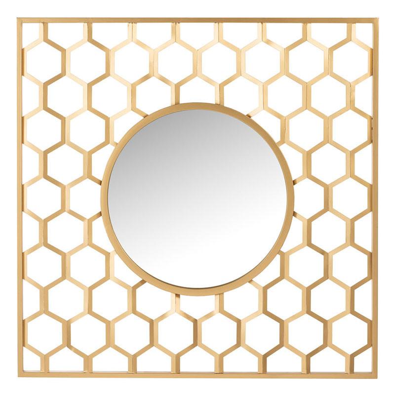 Miroir alvéoles Métal doré - POTTOK