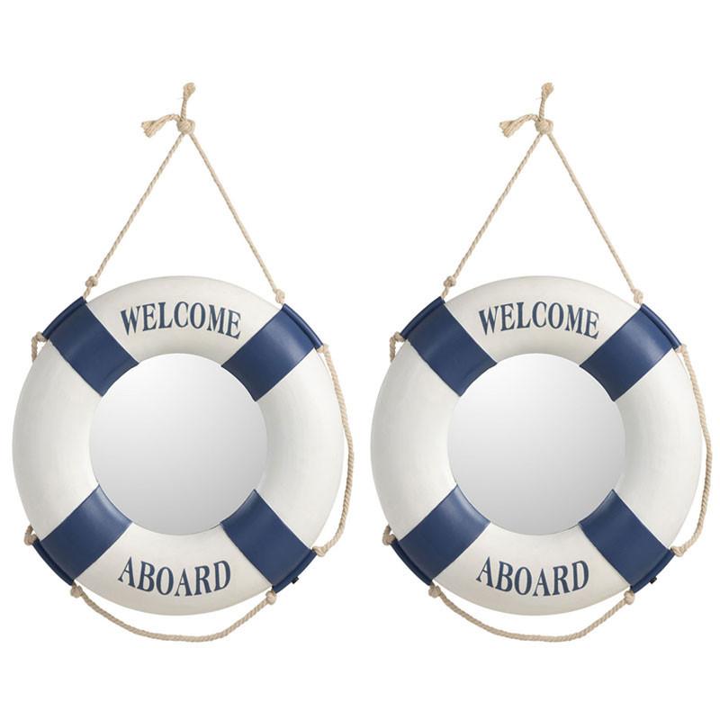 Duo de Miroirs bouée Résine bleu/blanc - SEKOU