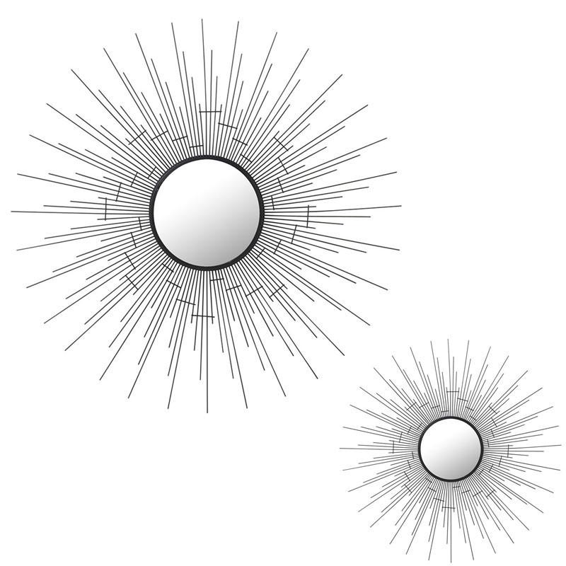 Duo de Miroirs soleil ronds Métal noir - OGADEN