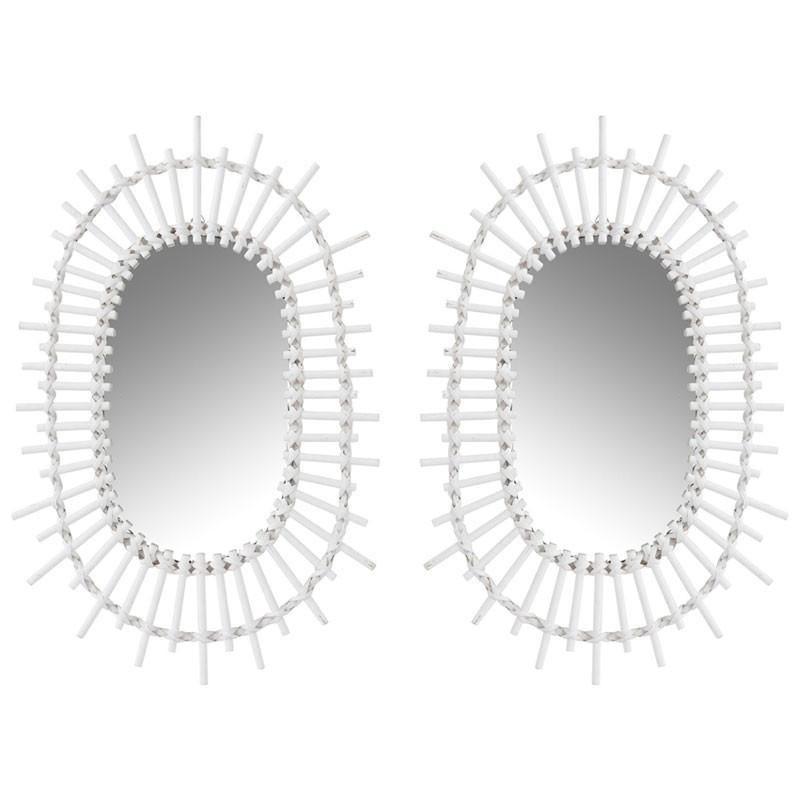 Duo de Miroirs ovales Bambou blanc - UNMOL