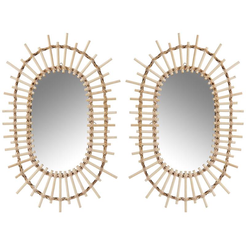 Duo de Miroirs ovales Bambou naturel - UNMOL