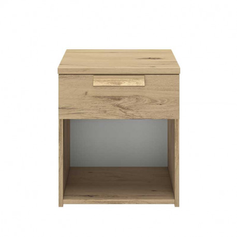 Table de chevet 1 tiroir 1 niche Chêne blond  - ILORA